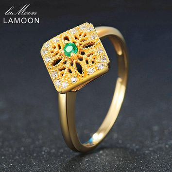 LAMOON 2mm Round Cut Green Emerald 925 Sterling Silver Jewelry Wedding Ring with For Women LMRI032