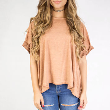 Cinnamon Cuffed Half Sleeve Top