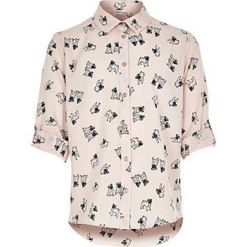 River Island Girls pink pug print shirt