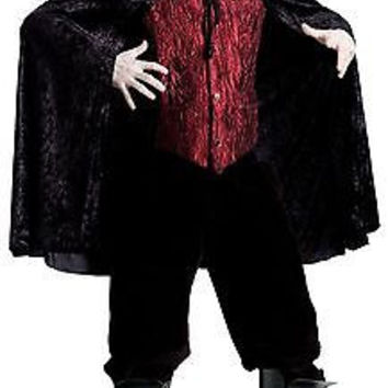 Black Dracula Cape with Foam Filled Satin Collar Deluxe Adult Costume