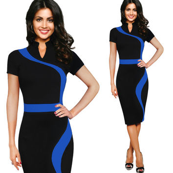 V Neck Contrast Pencil Dress