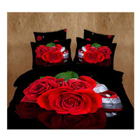 3D Queen King Size Bed Quilt/Duvet Sheet Cover Cotton reactive printing 4pcs 1.8M bed 24