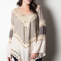 Multi Colored Crochet Top - Taupe - Curvy