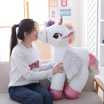 1pc 90cm Big Kawaii Plush Unicorn Pillow Stuffed Plush Animals Cushions Horse Toys Ornaments Gifts For Girls Kids