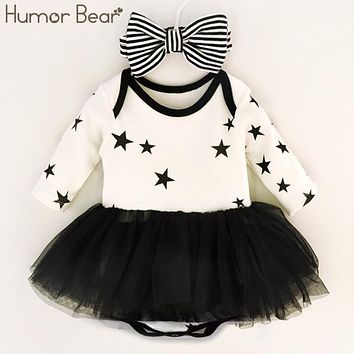 Humor Bear Baby Girl Dress Cake Dresses For Bow-tie Party Occasion Of Children 0- 8 months Girl Birthday Party
