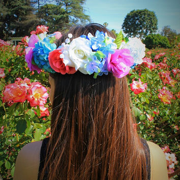 Blue Flower Crowns, Flower Headband, Flower Wreath, Floral Accessories, Coachella Headbands, Flower Girl Crowns, Coachella Accessories