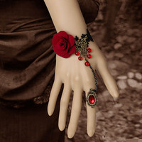 Red Rose Lace Bracelet, Lace Bracelet with Ring Set, Lady Cuff Bracelet--Best Gift