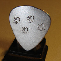 Guitar Pick Handmade Aluminum with Paw Stamps