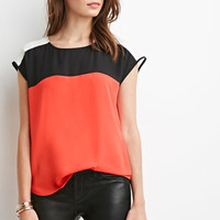 Colorblocked Chiffon Cap-Sleeved Top