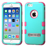 MYBAT TUFF Hybrid M-Stand iPhone 6 Case - Teal Green/Electric Pink