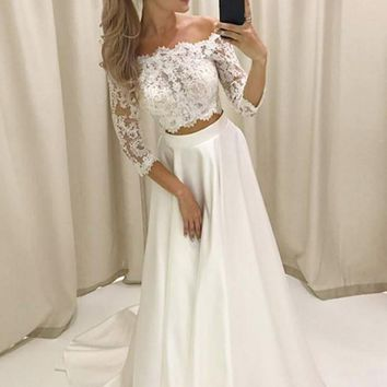Prom Dress With Long Sleeves Lace Two Piece White Evening Dress