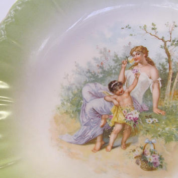 Jadeite Green Portrait Plate Lady Portrait Plate Bowl Bavarian Bowls Bavarian Plate Germany Victorian Wall Decor Jadeite Plate Cabinet plate