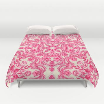 Hot Pink & Soft Cream Folk Art Pattern Duvet Cover by Micklyn