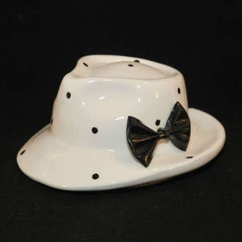 Vintage Enesco Ceramic Ladies Hat With Bow Bank (c. 1985) White With Black Polka Dots Piggy Bank, Collectible Bank, Gift Idea, Coin Bank