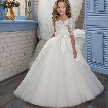 Princess Pageant Dress for Girls Glitz Lace Floor Length Flower Girl Dresses Puffy Tulle Prom Dress Graduation Gown Vestido