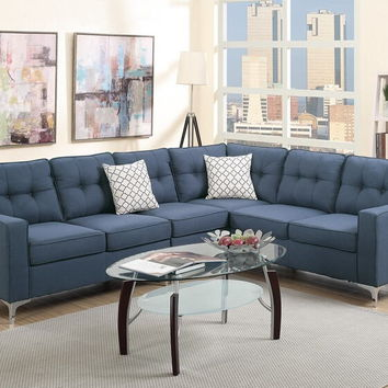Poundex F6889 4 pc Sampson II collection navy linen like fabric upholstered sectional sofa with armless chair