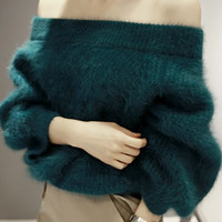Off-The-Shoulder Long Sleeve Fur Sweater