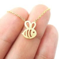 Adorable Bumble Bee Insect Shaped Charm Necklace in Gold | Animal Jewelry
