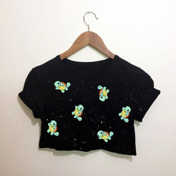 Mini Squirtle Turtle Pokemon Black Crop Top T Shirt Festival Hippie Emo Hipster Kawaii
