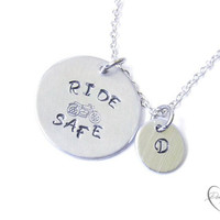 Motorcycle Necklace - Biker Necklace - Harley Davdson Necklace - Ride Safe - Harley Davidson Gift - Biker Jewelry - Initial Jewelry