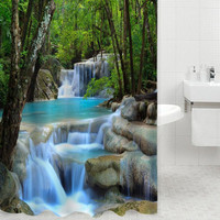 Durable Shower Curtain Wonders Waterfalls Green Nature Scenery Bathroom Mildewproof Polyester Fabric W/ Fabric Polyester