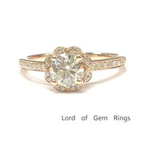 Round Moissanite Engagement Ring Pave Diamond Wedding 14K Rose Gold,5mm,Floral Unique