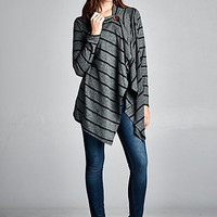 Striped Button Wrap in Charcoal