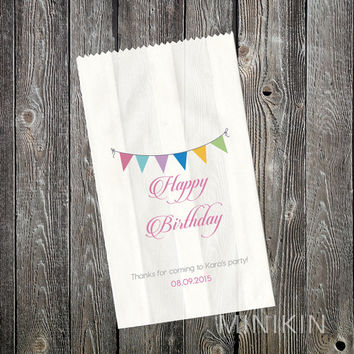 Personalised Lolly Bags - Birthday Party Supplies - Rainbow Flag - Birthday Favours - Candy Bags - Loot Bags - Paper Favor Bags - Small