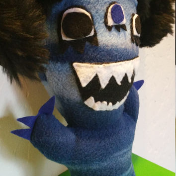 Monster doll, stuffed animal, blue fleece.