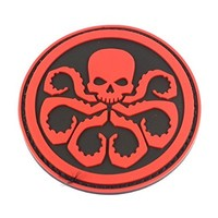 YPY 2pcs The Avengers Hydra Logo Patch 3D PVC Velcro Badges Backpack Tactical Badge (Red & Black)
