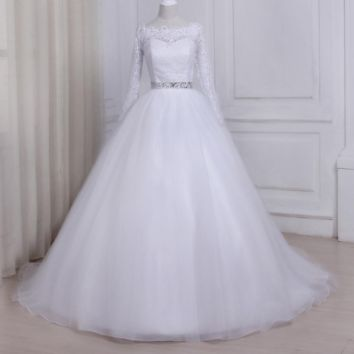 Long Sleeves Lace Wedding Dress Boat Neck Sweep Train Tulle Ball Gown Bride Dresses