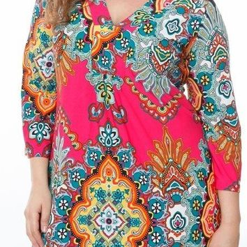 Plus Size Madelyn Print Dress Fuchsia Black Short Shift V Neck