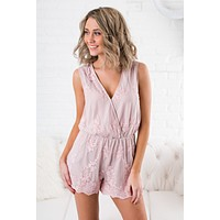 Lace Party Mesh Lace Romper (Rose)