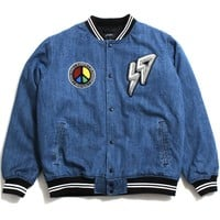 69 Varsity Jacket Medium Stone Wash Denim