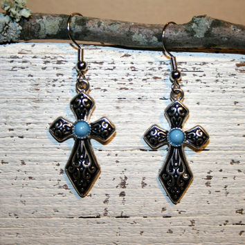 Silver Turquoise Cross Earrings Cowgirl Southwestern Jewelry Cross Jewelry Spiritual Religious Handmade Earrings Handmade Jewelry Gift Idea