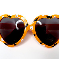 Bright Orange Heart Shaped Halloween Sunglasses With White Ghosts and Black Bats