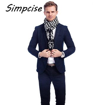[Simpcise] Plaid men scarf in winter fashion scarves classical plaid scarf for men imitation cashmere scarves tassel A3A17949