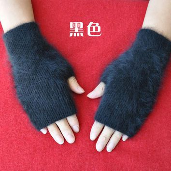 Fine Sheep Mink Cashmere Mitt Exposed Finger Women's Gloves Winter Autumn Knitted for Women Fingerless Gloves Wrist Mittens