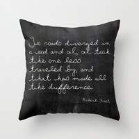 Velveteen Pillow - Two Roads Diverged - Quote Pillow - Typography - Black and White - Robert Frost - Throw Pillow - Chalkboard