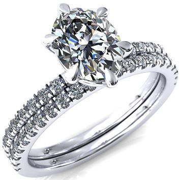 Alessandra Oval Moissanite 6 Claw Prong Diamond Accent Engagement Ring