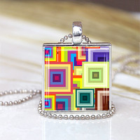Squares  Patterns  Glass Pendant,  Squares Patterns  Necklace, Squares Patterns Charm,Colorful Jewelry, Colorful Modern  Pendant