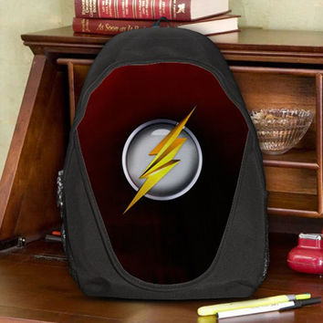 The Flash Logo Justice League Super Speed Crimson Comet Teen Kids Canvas School Backpack Bag Rucksack