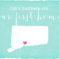 Our First Home, Personalized Home Decor Print - 8x10 Map Art Print with Address, Heart in City -