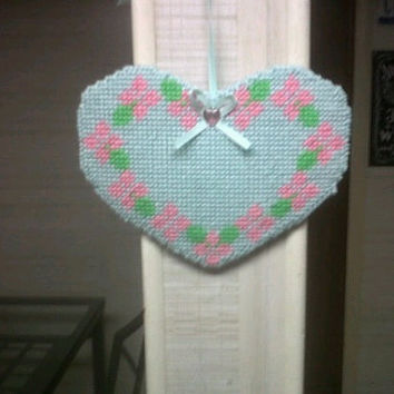 heart mobile needlepoint plastic canvas
