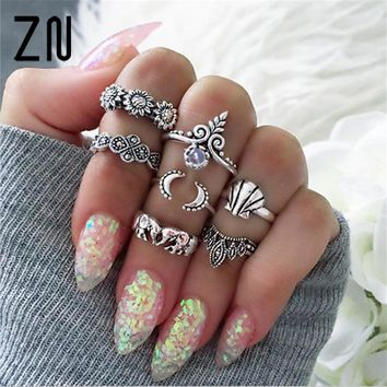 7pcs/Set New Arrival Flower Natural Stone Carved Ring Set Bohemian Vintage Women Accessories