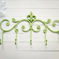 Fleur De Lis Decor / Metal Wall Hanger / Wall Hooks / Jewelry Rack / Towel Rack / Coat Hook / Metal Wall Decor / Mint Green / Customize