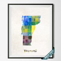 Vermont, Map, Print, Montpelier, Richmond, USA, Poster, Watercolor, Painting, Decoration, Gift, Home Town, Art, States [NO 97]