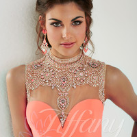 Embellished High Collar Tiffany Designs Prom Dress 16159