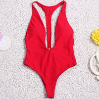 Red Plug V Neck One Piece Swimsuit B005894