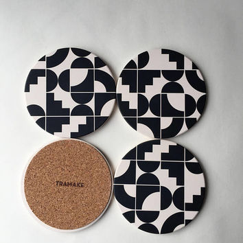 black and white coasters printed, geometric coasters, memphis style, modern coasters, absorbent coasters, hostess gift, housewarming gift